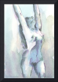 Blue Female Nude Figure Study