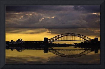 Sydney Harbour Bridge and Opera House at sunset