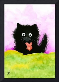 Fuzzy Black Cat Heart
