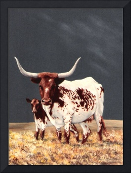 Longhorn cow & calf painting