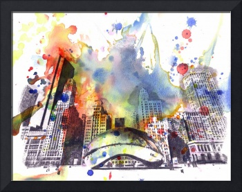 Chicago bean cityscape skyline art painting