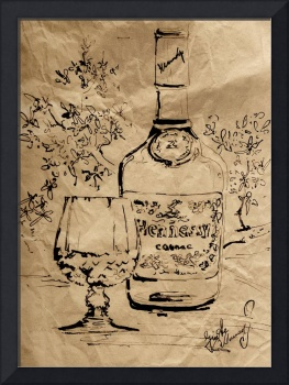 Cognac Bottle and Snifter Mixed Media