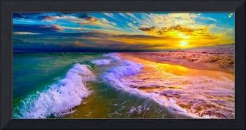 Golden Beach Sunset with Rolling Ocean Waves