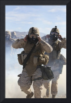Marines and sailors participate in an outdoor gas