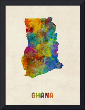 Ghana Watercolor Map