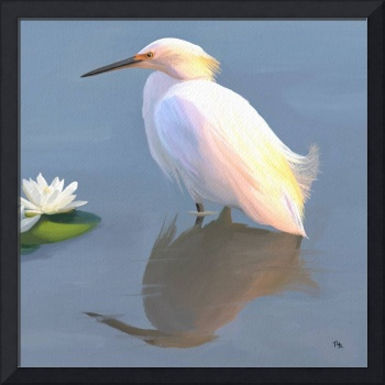 Egret and Lilies