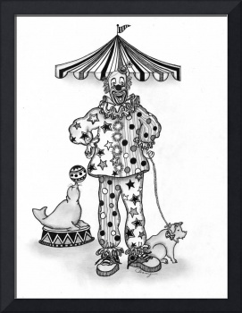 PEN AND INK CLOWN WITH PIG