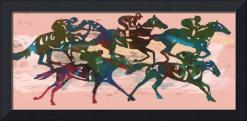 Horse racing stylised etching pop art poster