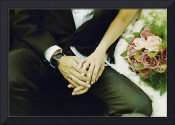 Wedding couple bride groom holding hands analogue