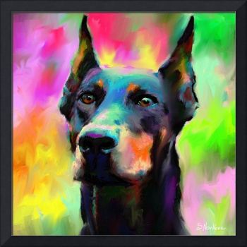 Doberman Pincher Dog painting print