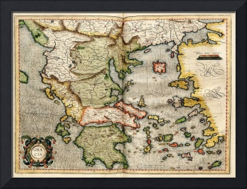 Vintage Map of Greece (1596)