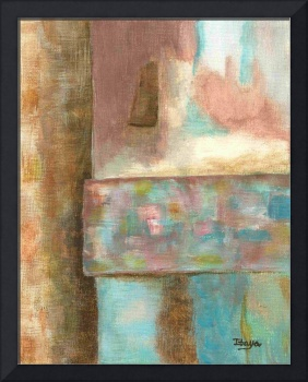 Abstract Art Painting Castle Tower Pink Aqua Blue