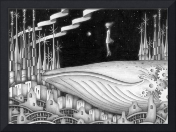 Monochrome art - Town where whale exists