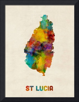 St Lucia Watercolor Map
