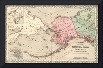Vintage Map of Alaska and Russia (1869)