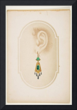 Design for an earring with a green scarab  Anonymo