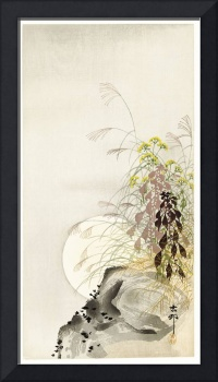 Grass and Full Moon by Ohara Koson