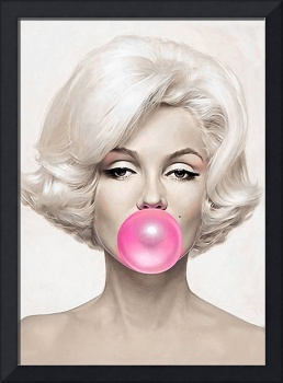 Classic Bubble Gum Shot of Marilyn Monroe painted