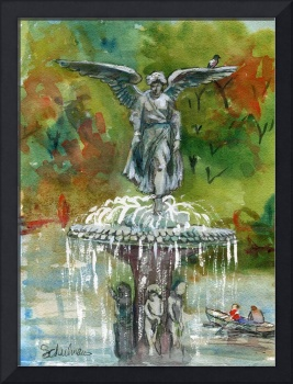Central Park Fountain, New York watercolor landsca