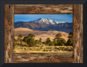 Rustic Wood Window Colorado Great Sand Dunes View