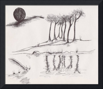 Night Ink Landscape