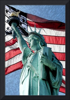 Statue of Liberty American Flag