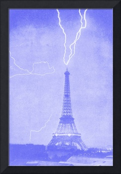 Eiffel Tower Struck by LIghtening Blue