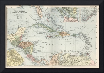 Vintage Map of The Caribbean (1892)