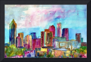 Atlanta Visions, Watercolor abstract skyline paint