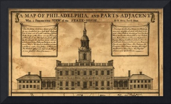 Vintage Illustration of Independence Hall