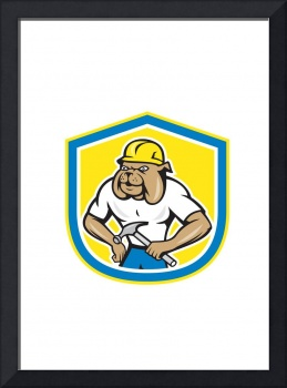 Bulldog Construction Worker Holding Hammer Cartoon