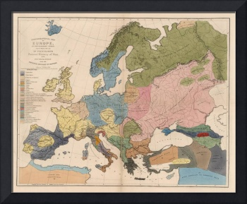 Vintage Anthropological Map of Europe (1861)