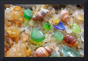 Orange Agates Green SEA GLASS Art prints Beach