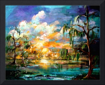 Okefenokee Sunset Original Painting by Ginette Cal