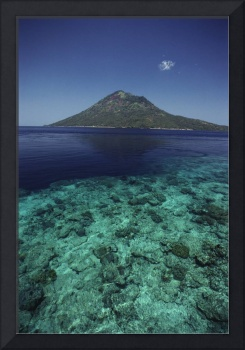 Indonesia, View Of Manado Tua Island From Bunaken