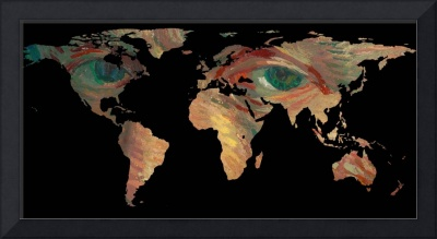 World Map Silhouette - Van Gogh's Painted Eyes