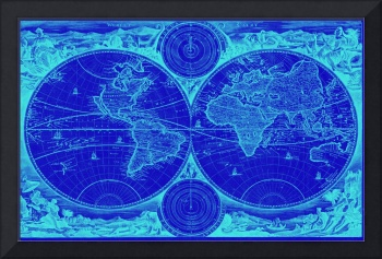World Map (1730) Blue & Light Blue