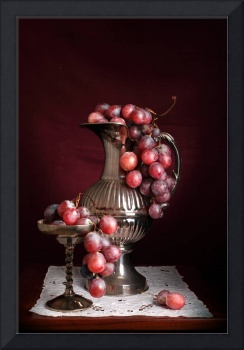 Vase and cup with grapes