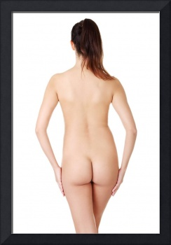 Young naked woman on white background.