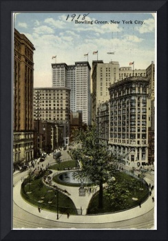 Vintage Bowling Green Park in NYC Artwork (1918)