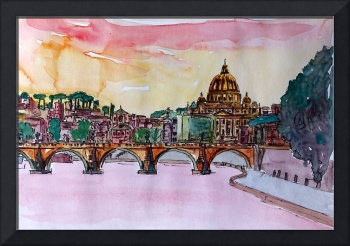 Vatican Rome Italy Sunset On River Tiber With St P