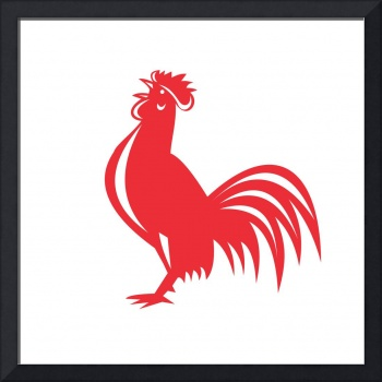 Chicken Rooster Crowing Retro