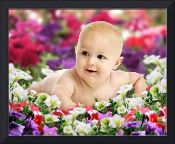 Baby On Colorful Flowers