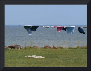 Clothesline by the sea.