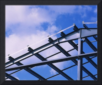 Low angle view of a steel framework for a warehou