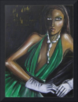 Woman In Green Dress and White Gloves