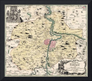 Vintage Map of Prague & Surrounding Area (1740)