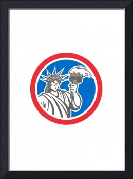 Statue of Liberty Holding Flaming Torch Circle Ret