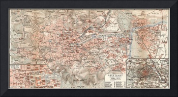 Vintage Map of Stuttgart Germany (1909)