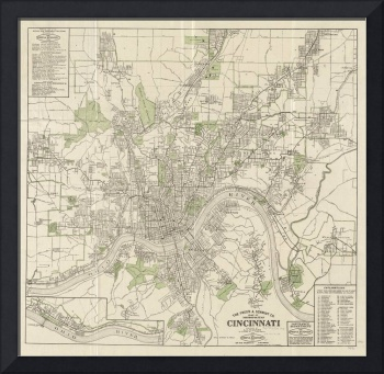 Vintage Map of Cincinnati Ohio (1915)